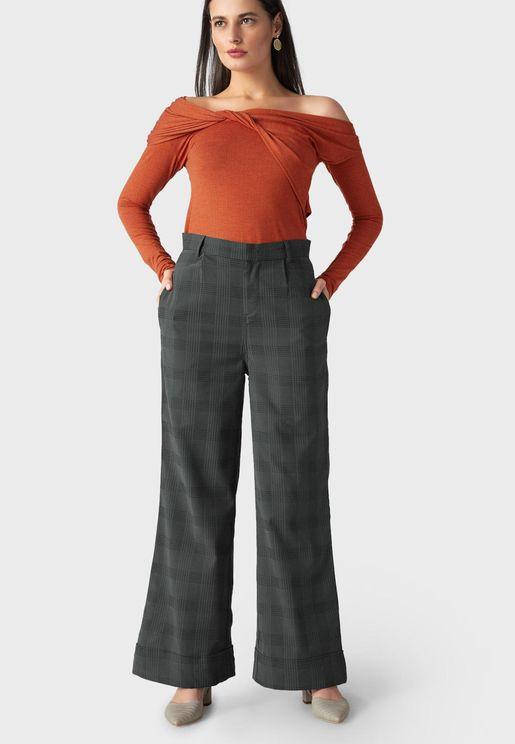 Wide Leg Checked Pants