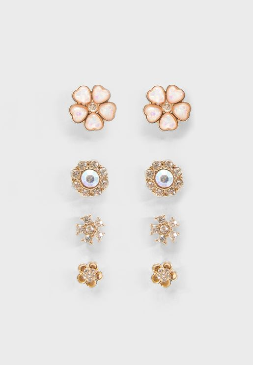 Multipack Floral Stud Earrings