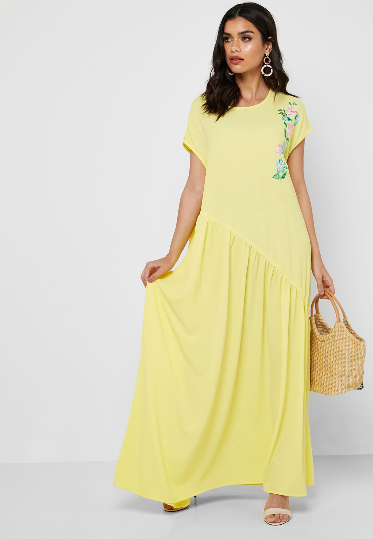Embroidered Pleated Maxi Dress