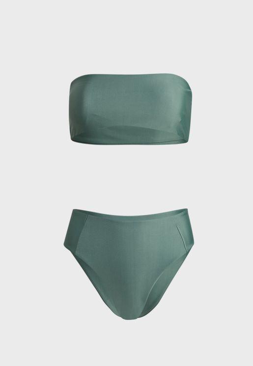 Bandeau High Waist Bikini Set