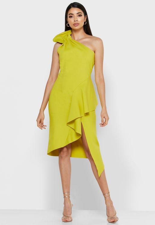 Charisma One Shoulder Asymmetric Waterfall Dress