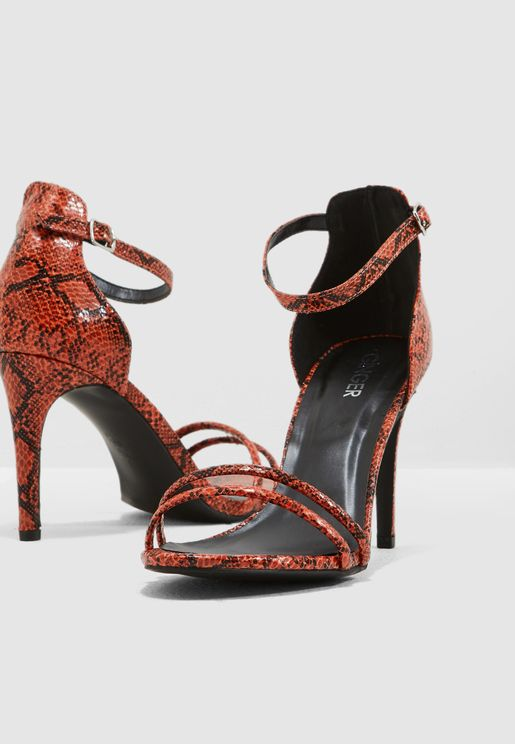 bce6e36c628 Barely There Sandal With Strap Detail In Snake