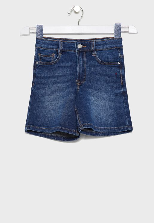 Kids Dark Wash Denim Shorts