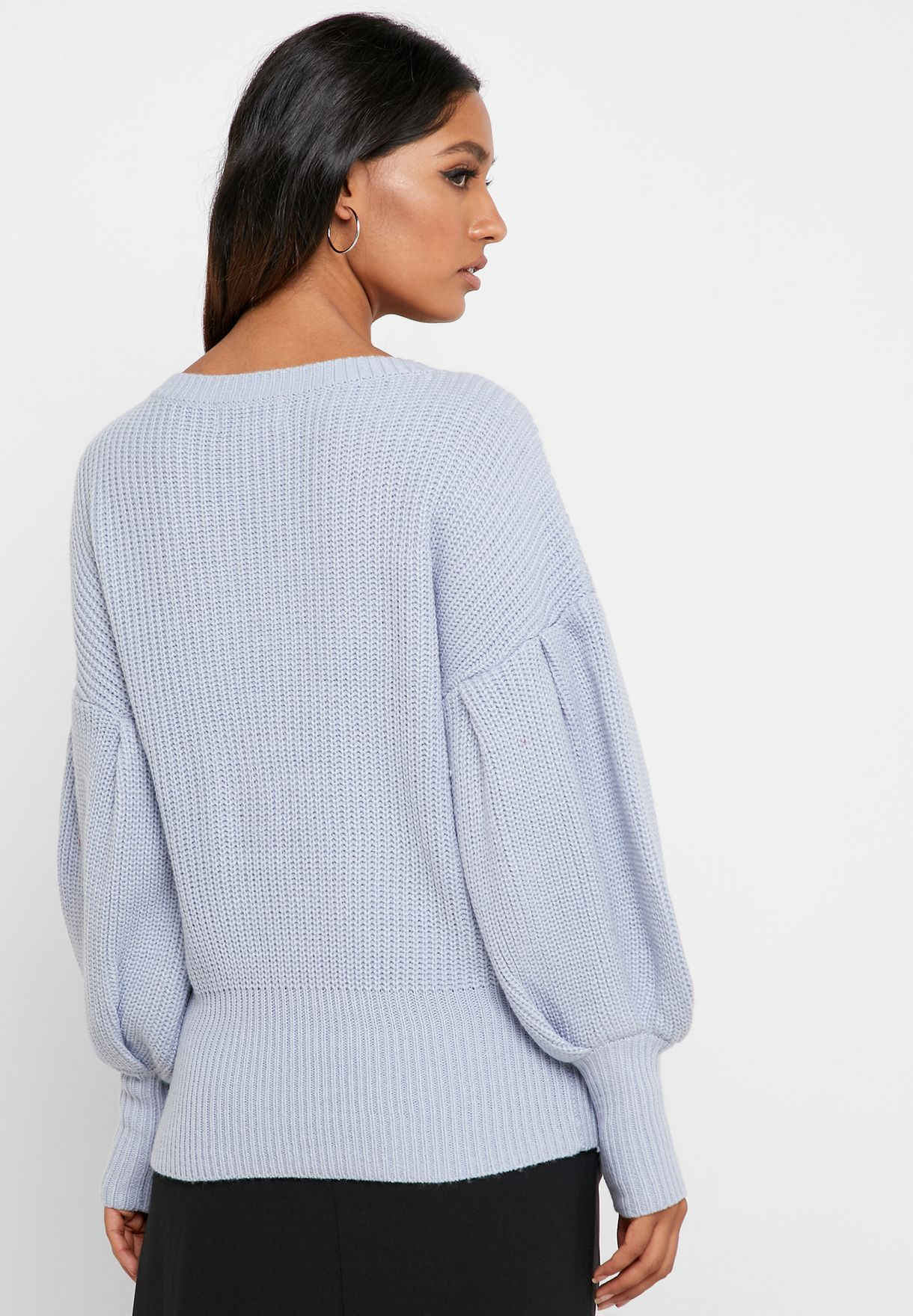 Balloon Sleeve Ribbed Sweater