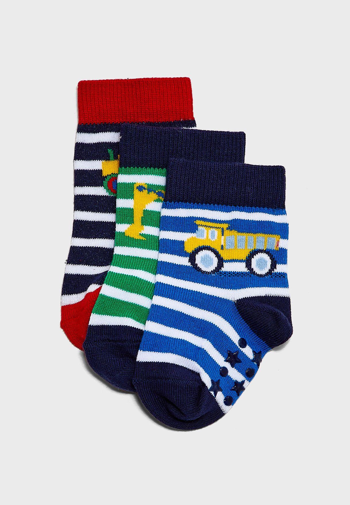 Kids 3 Pack Digger & Tractor Socks