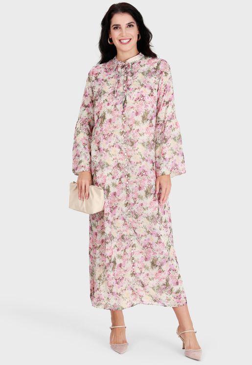 Floral Print Crew Neck Dress