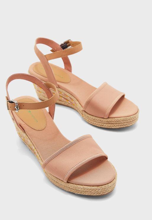 Textile Mid Heel Wedge Sandal - TRK