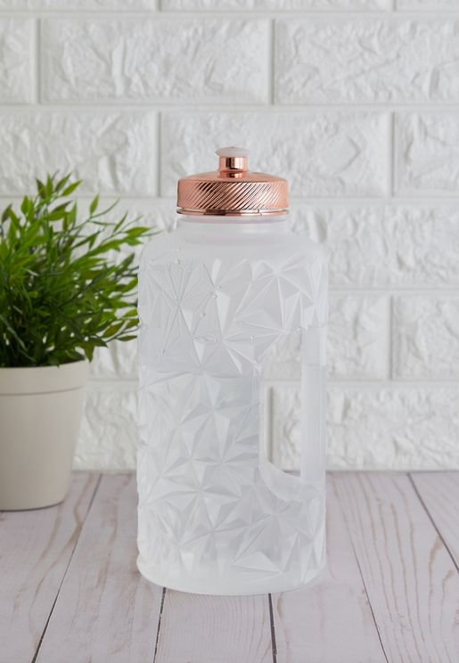 Clear and Rose Gold Drink Bottle 1.8L