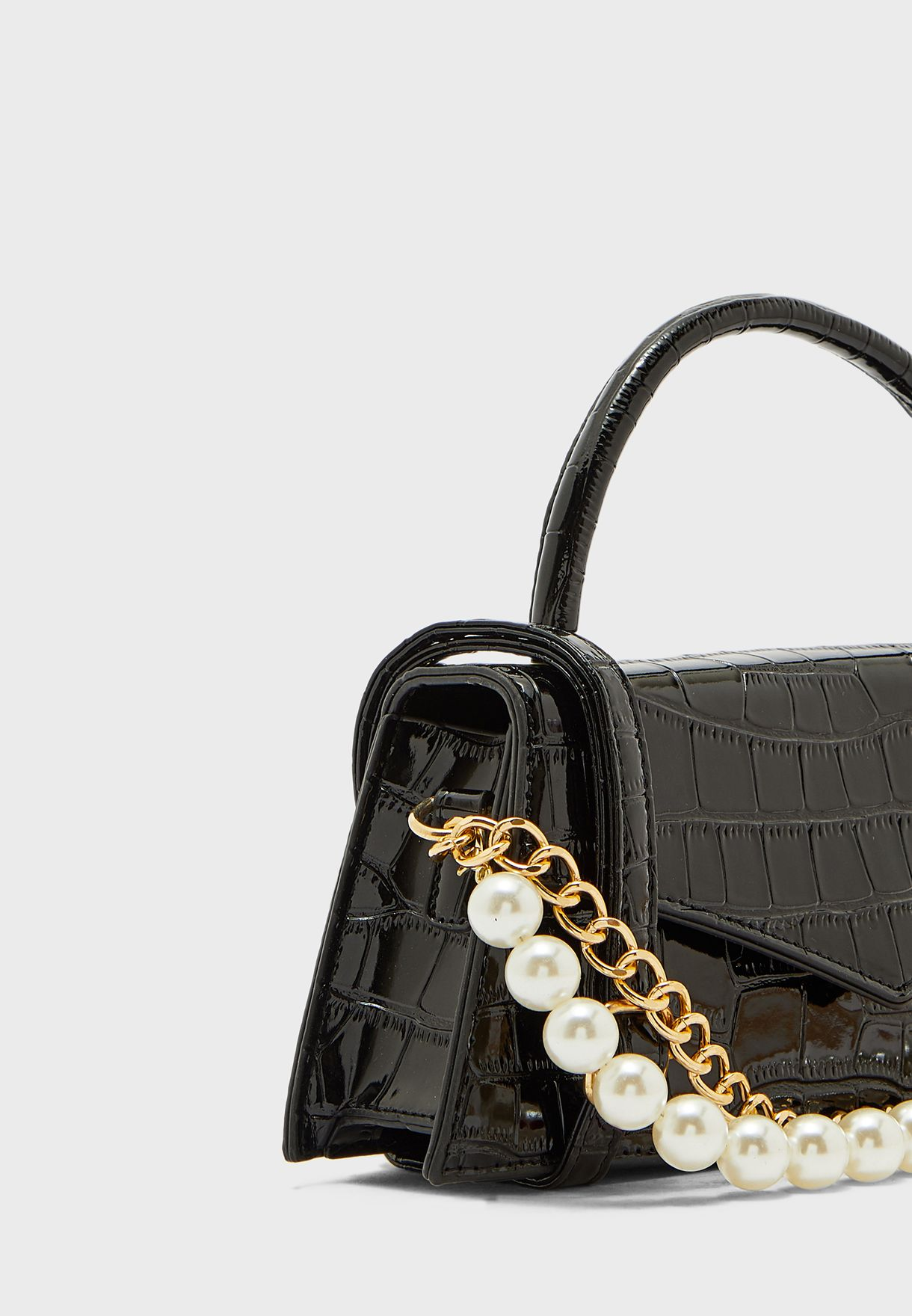 Croc Handbag with Pearl and Chain