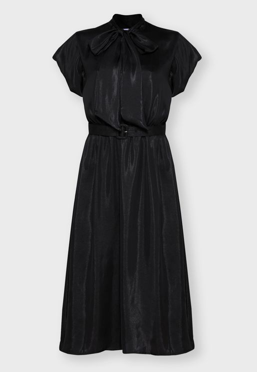 Tie Neck Belted Midi Dress