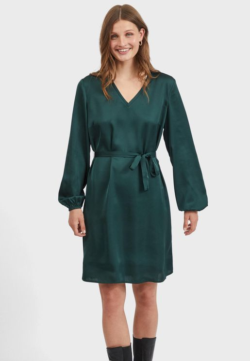Waist Tie V-Neck Mini Dress