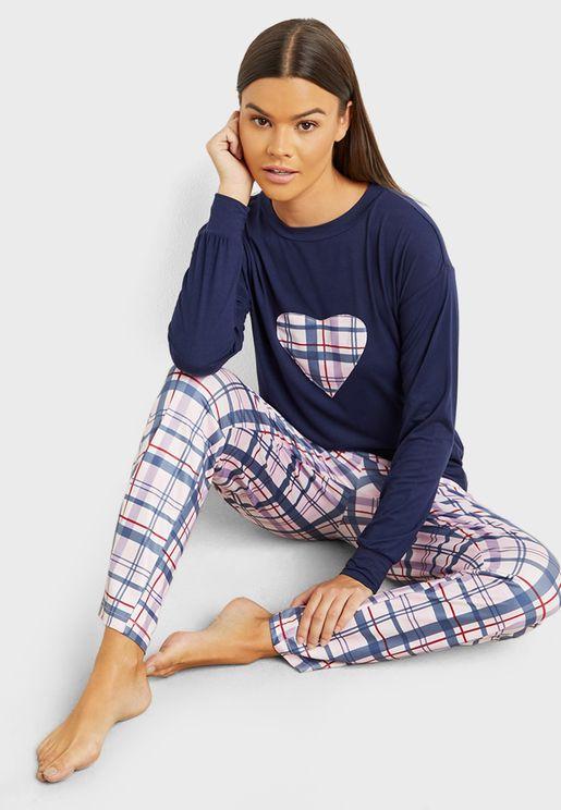 Checked Heart Long Sleeves T-Shirt And Pyjama Set