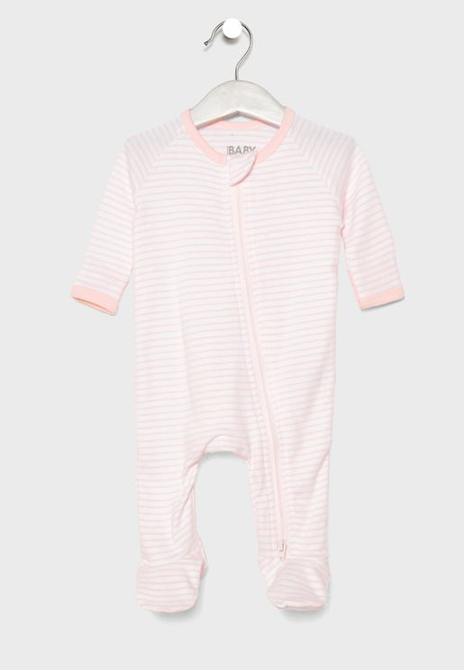 Infant Zip Through Striped Bodysuit