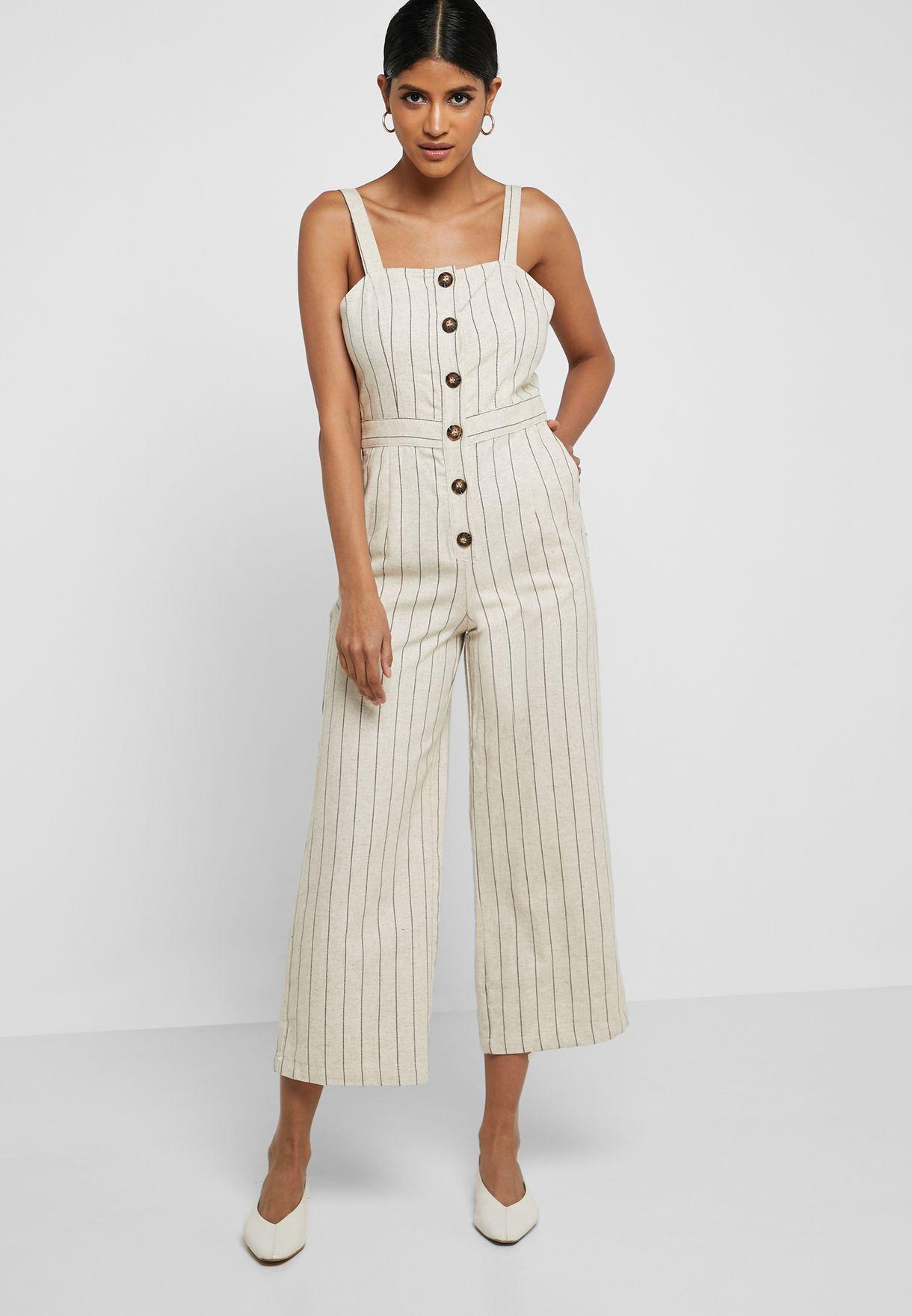 Striped Button Detail Jumpsuit