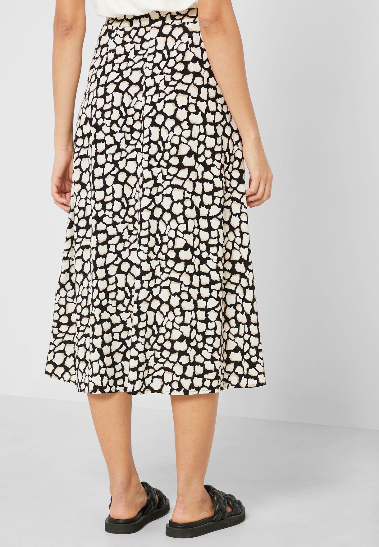 Giraffe Print Midi Skirt