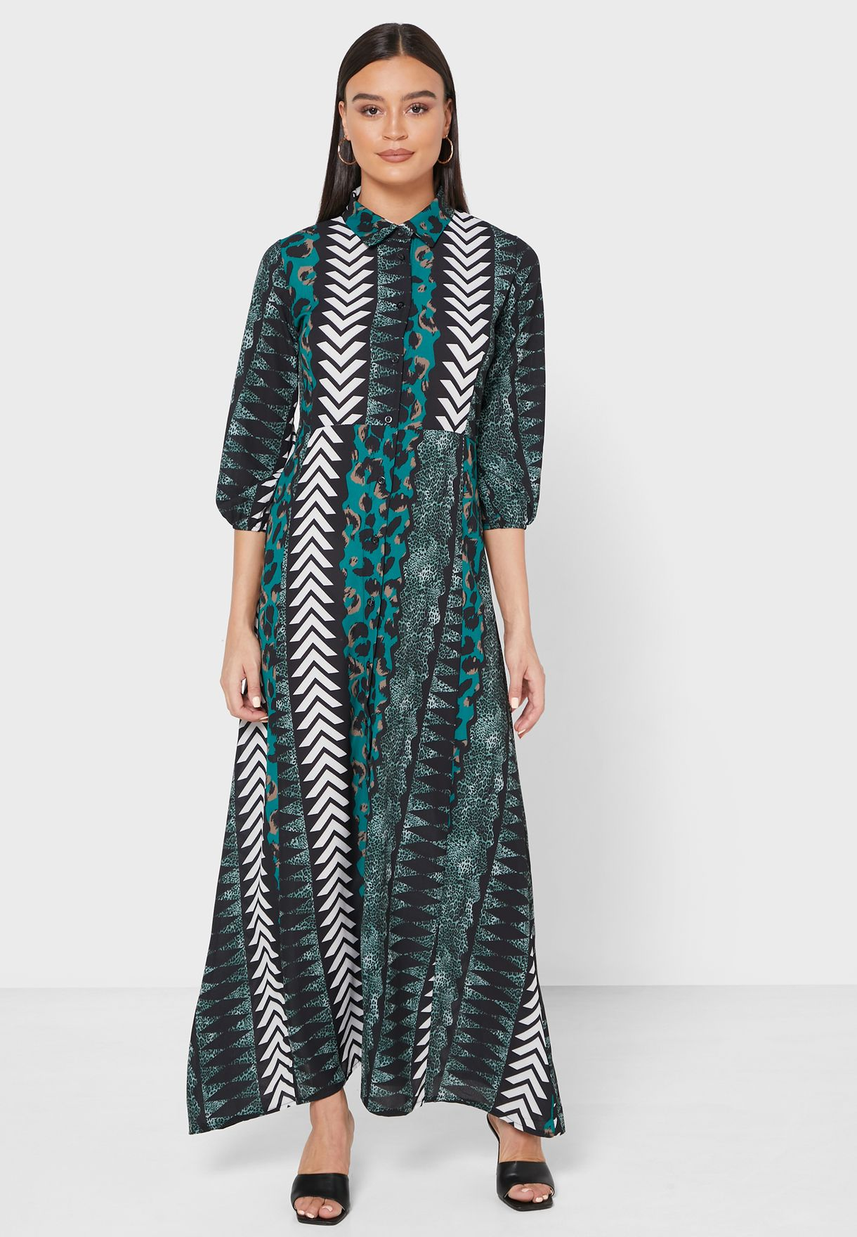 Mixed Print Shirt Maxi Dress
