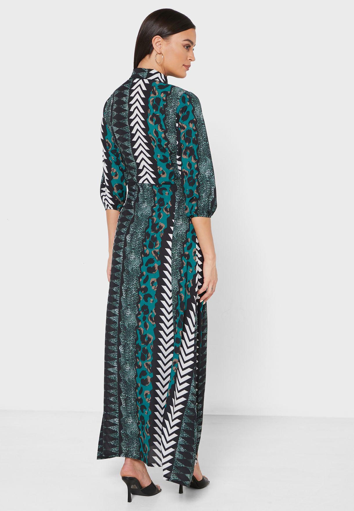 فستان مكسي بنمط قميص مع طبعات