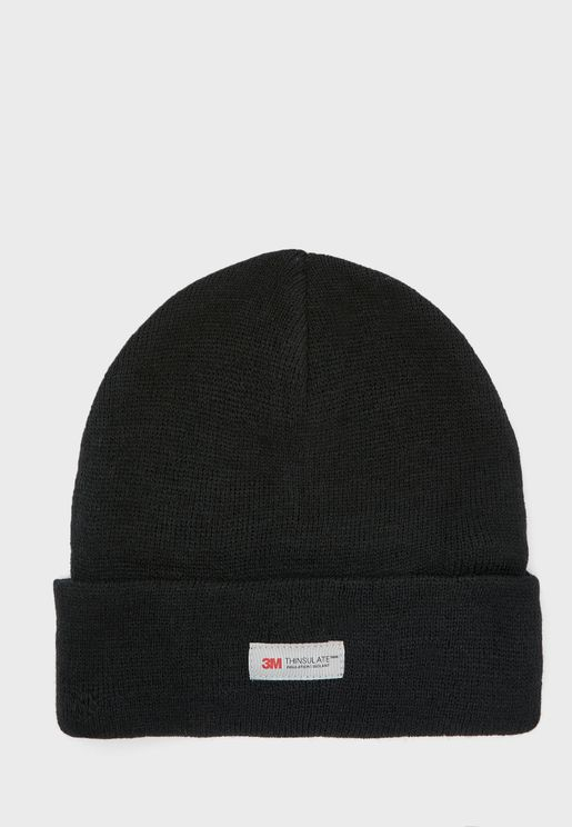 MENS BLACK THINSULATE ACYLIC HAT