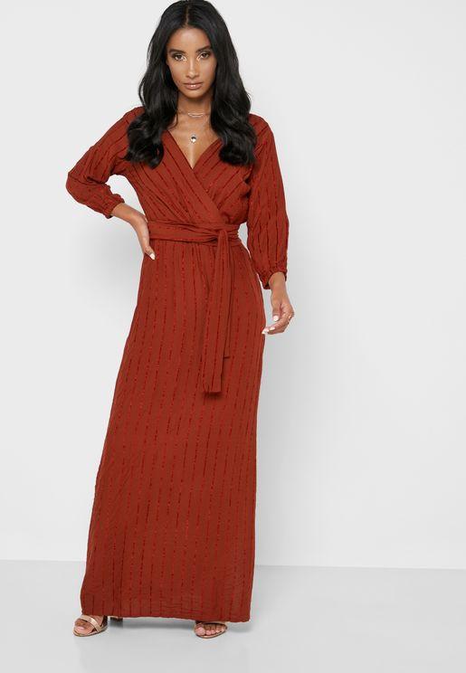Side Slit Wrap Maxi Dress