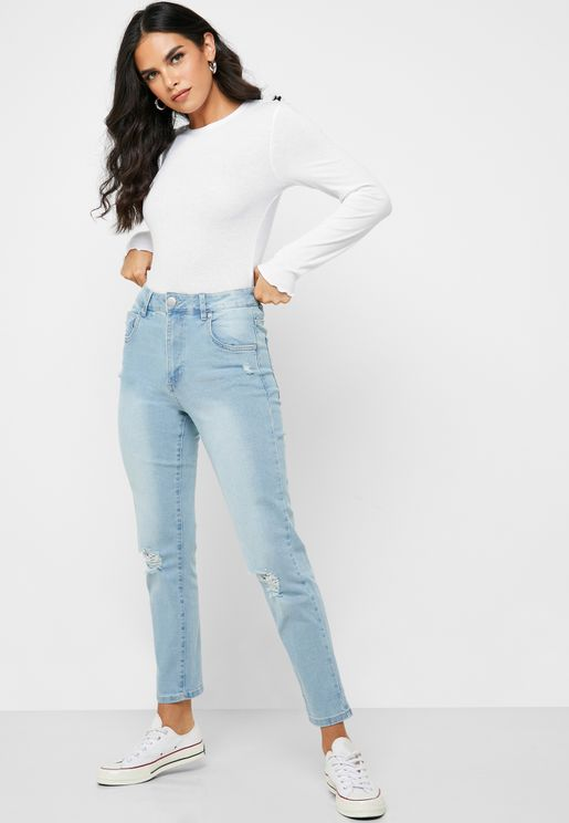 Knee Ripped High Rise Jeans