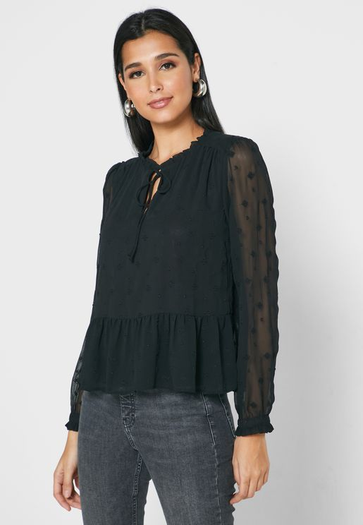 Mesh Sleeve Embroidered Top