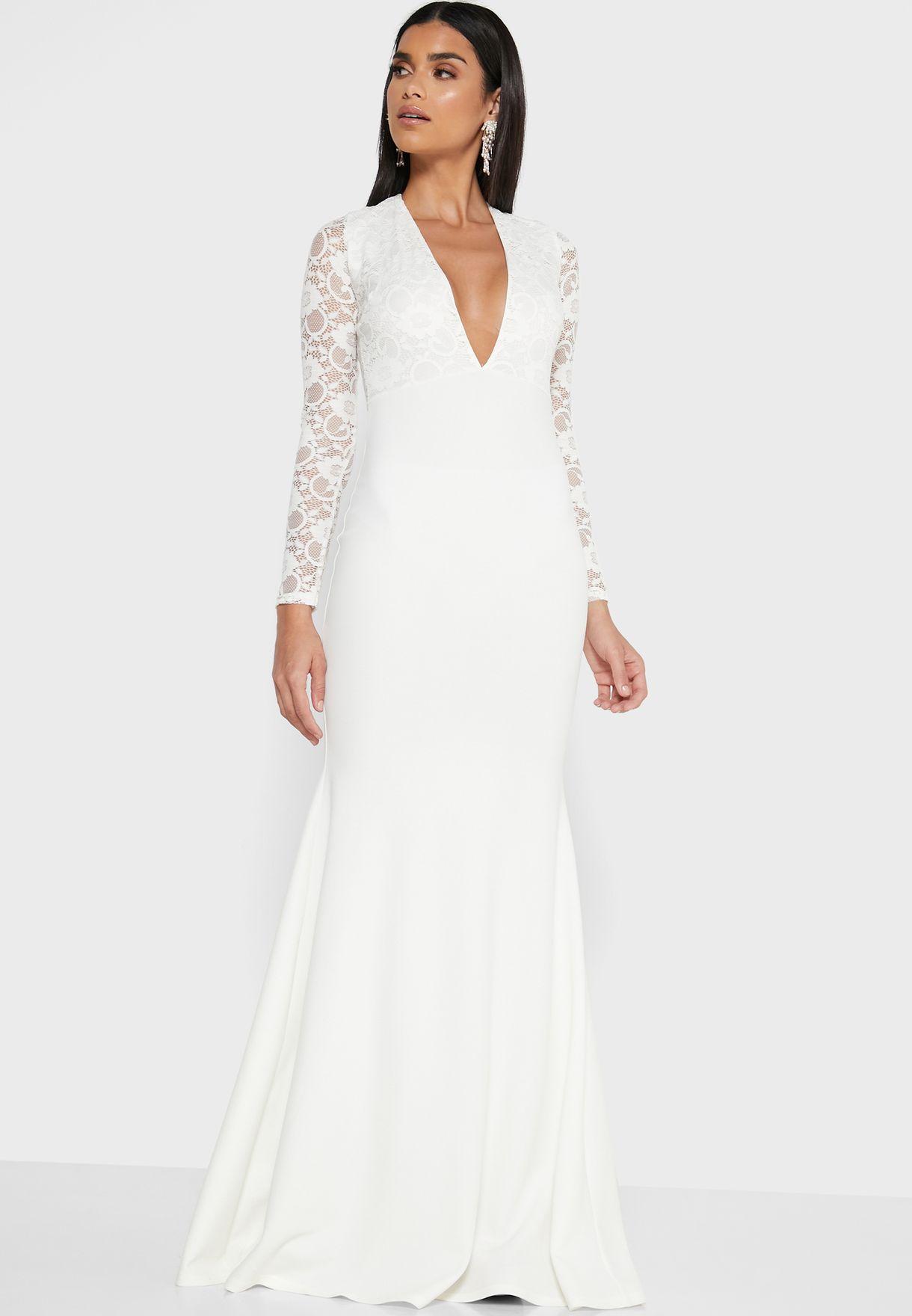 Lace Detail Plunge Dress