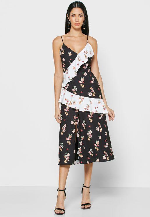 Floral Print Side Slit Ruffle Detail Dress