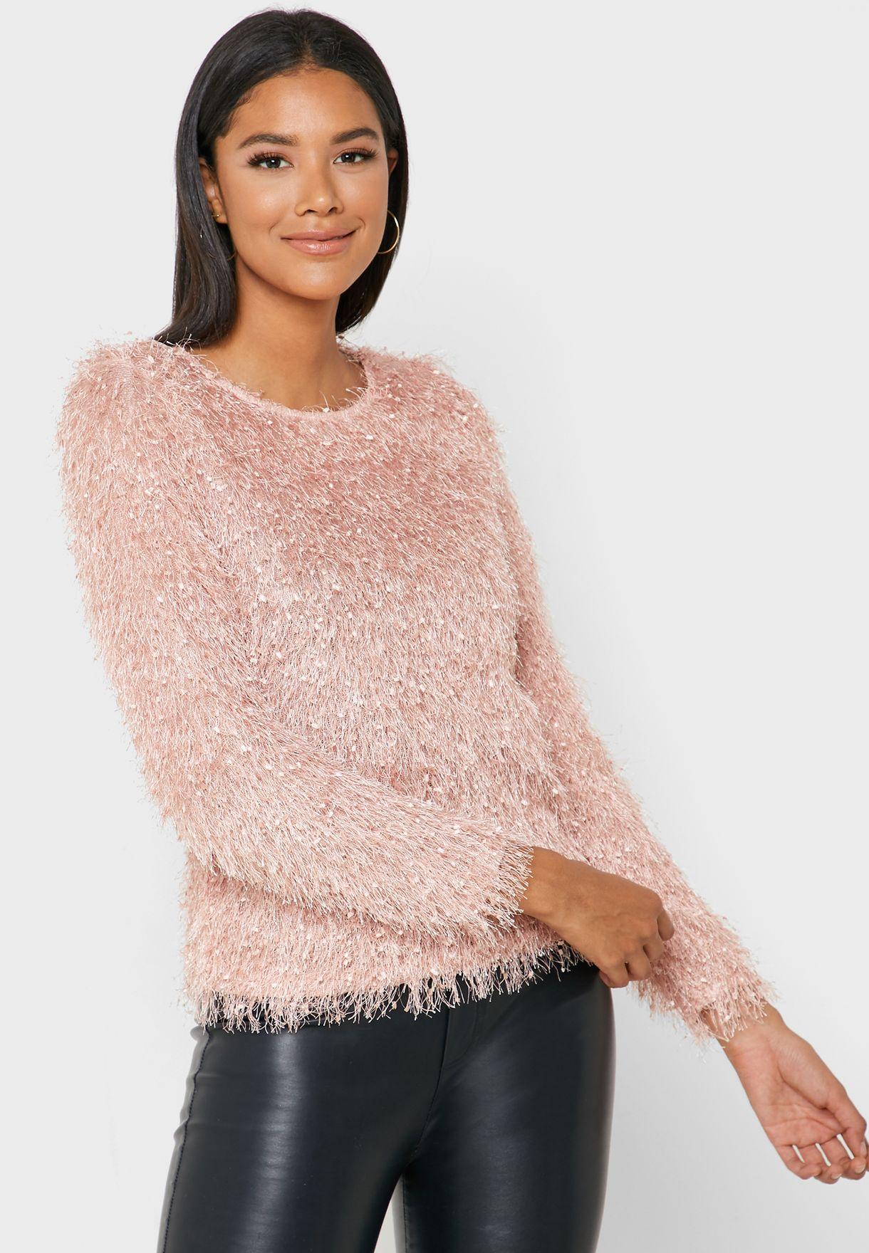 Faux Fur Glitter Sweater