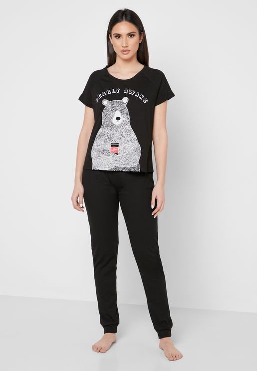 Graphic T-Shirt & Cuff Pyjama Set