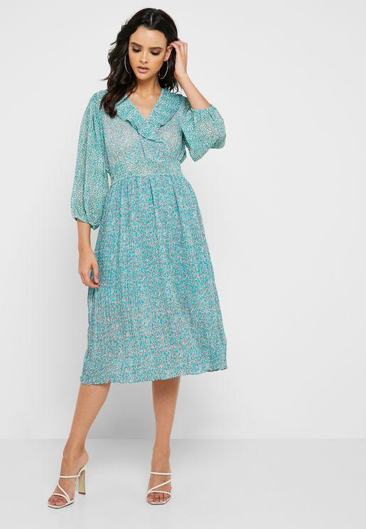 d8124f44277 Ruffle Detail Printed Pleated Dress