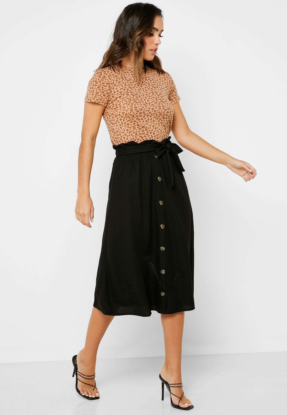 Button Down Belted Skirt