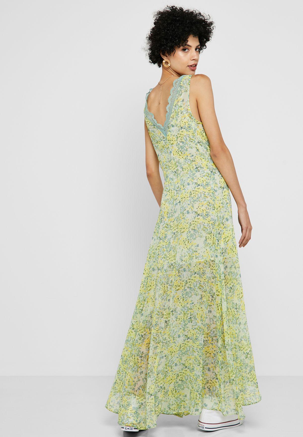 MANGO Scallop Trim Floral Print Dress - Women Clothing TrB9R