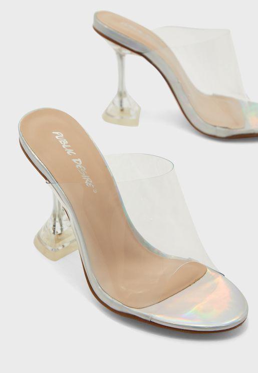 Transparent Strap Cone Heel Sandal