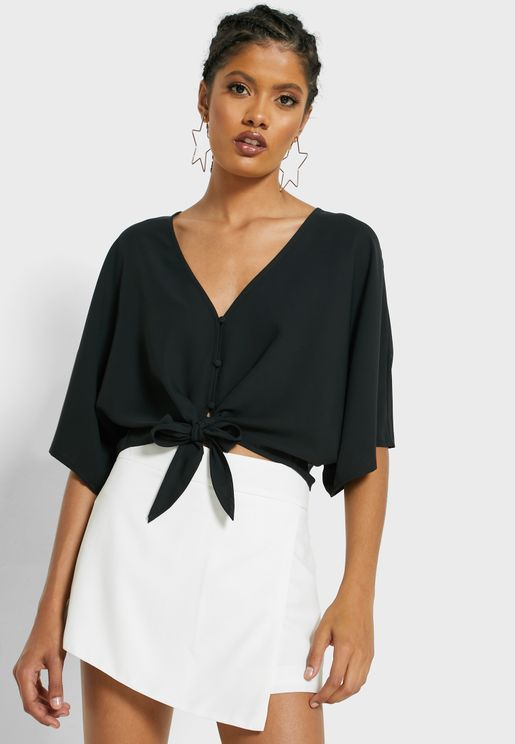 Wide Sleeve Front Knot Top