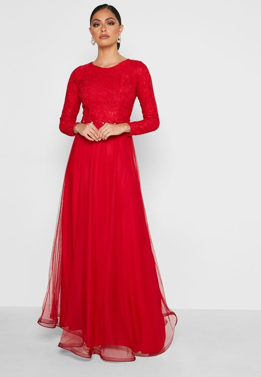 Embriodered Detail Tule Dress