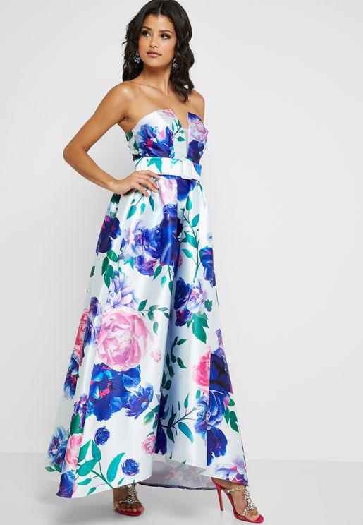 Floral Printed Bandeau Dress