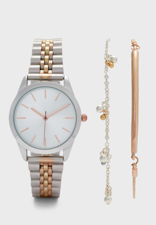 Tri Tone Watch and Bracelet Gift Set