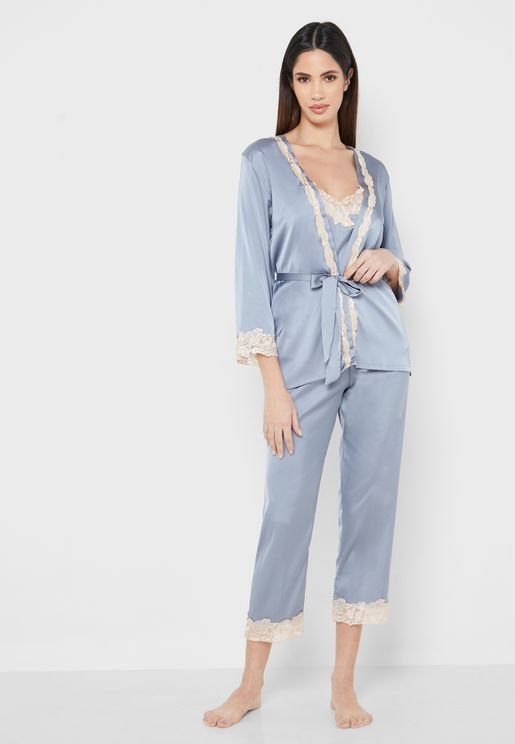 3 In 1 Lace Trim Robe Pyjama Set