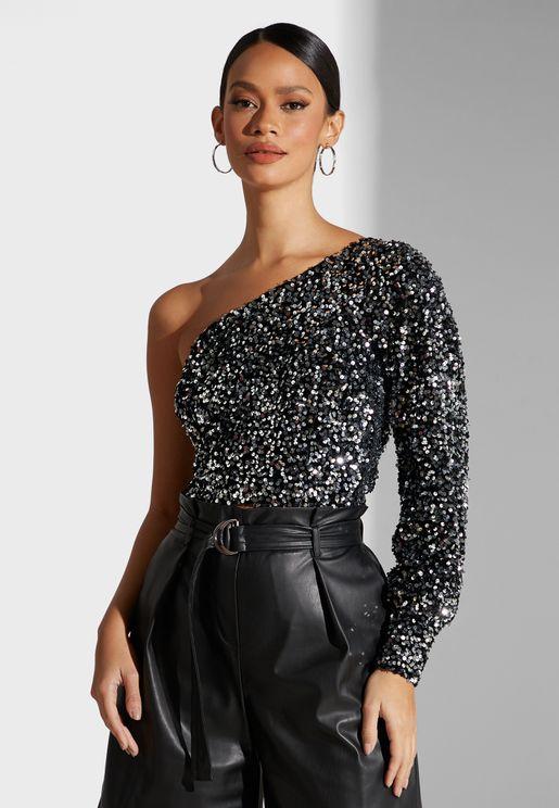 One Shoulder Sequin Top