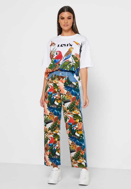 Farm Floral Cropped High Rise Jeans