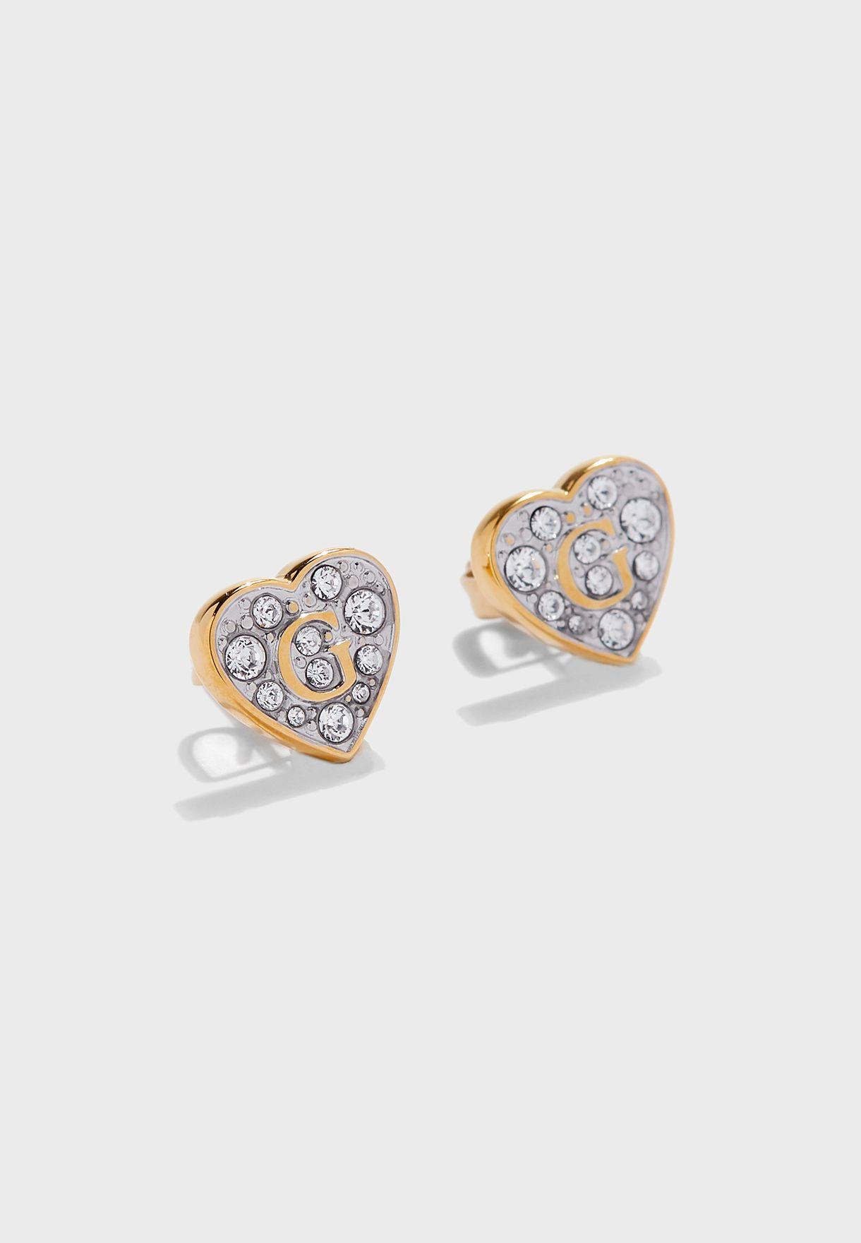 Pave Heart Stud Earrings