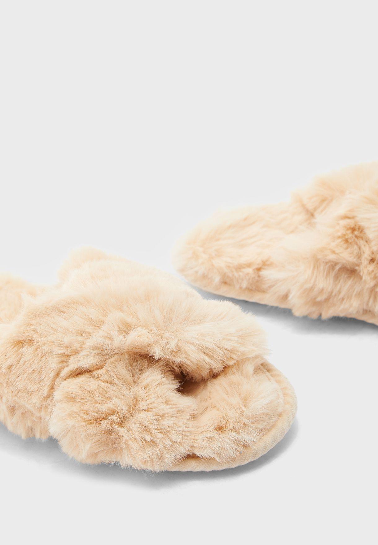 Furry Cross Over Slipper