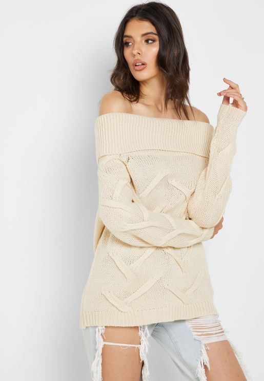 Cable Knit Bardot Sweater