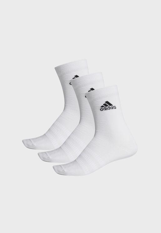 3 Pack Light Essentials Sports Unisex Training Crew Socks