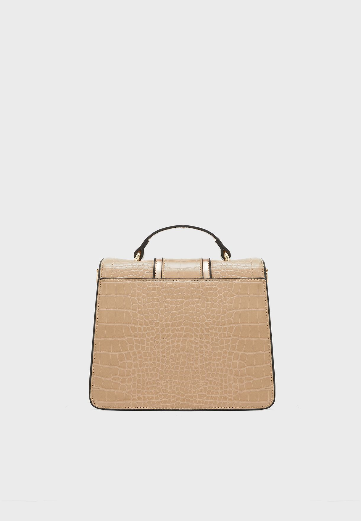 Belted Ring Detail Top Handle Crossbody