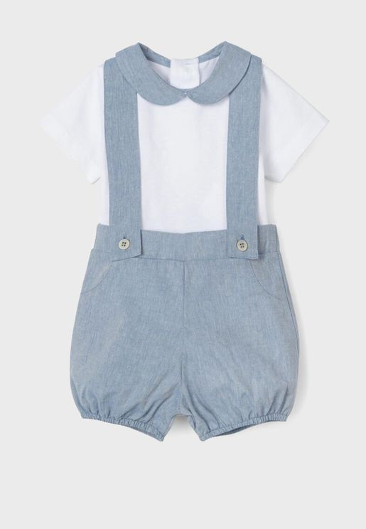Infant Essential Top + Suspender Shorts Set
