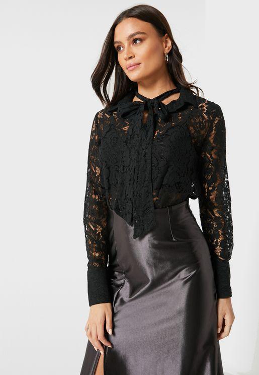 Lace Button Down Shirt