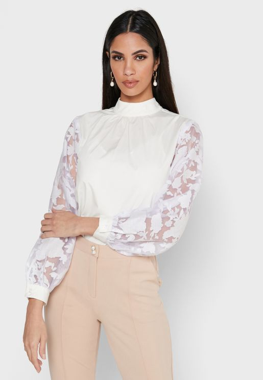 Lace Mesh Sleeve Tie Neck Top