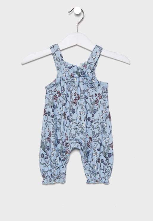 Infant Frill Detail Printed Jumpsuit