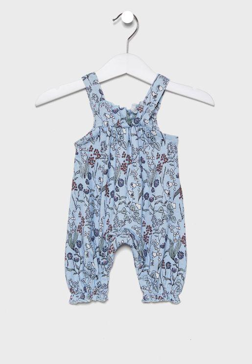 Infant Frill Detail Printed Jumpsuit